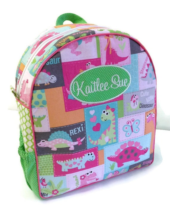 Personalized Toddler Backpack Girl Dinosaur Preschool Quilted Pink Book Bag Tote Diaper