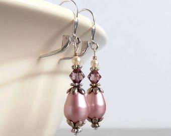 Dusty Pink Pearl Drop Earrings, Bridesmaid Pearl Earrings, Matching Bridesmaid Sets, Swarovski Pearl Dangles, Victorian Rose Wedding Jewelry