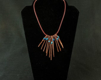 Copper and turquoise statement necklace
