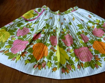 Vintage Homemade Half Waist Apron Adult White One Pocket Colorful Long Stem Rose Print Apron