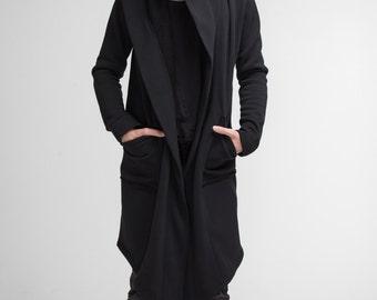 Man Coat , Jedi Costume Assassin Black Hooded Coat Urban Jacket Oversized Unisex Hoody Mens Coat Black Mantle Sci Fi A0008