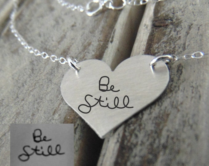 Handwritten Silver Heart Pendant - Actual Handwriting or Font Text - Perfect For Layering -Jewelry For Her - Sterling Silver Jewelry,Classic
