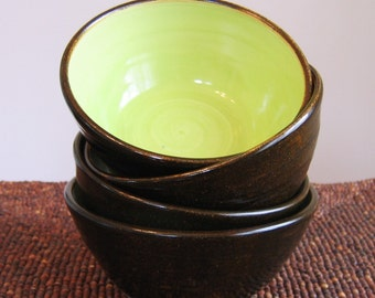 Set of Four Lime Chocolate Bowls