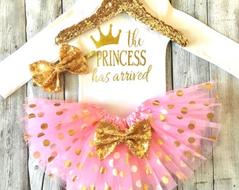 The princess has arrived Baby girl outfit baby girl cloths The princess has arrived pink and gold take home hospital outfit baby shower gift