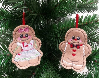 Set of 2 Embroidered Gingerbread Ornament - Christmas ornament - Embroidered felt ornament - christmas ornament
