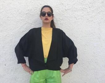 Giacca lino collo alla coreana, Giacca corta a pipistrello, Giacca lino taglio vestaglia, Kimono corto lino, Giacca vestaglia