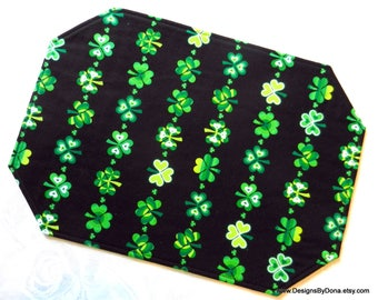 One or More Quilted, Reversible Placemats, St. Patrick's Day, Different Green Shamrocks in Rows/Columns, Handmade Table Linens