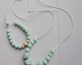 Silicone Teething Necklace and Bracelet