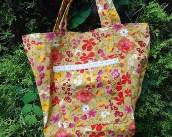 Handmade Tote Shopping Bag made with Vintage Fabrics