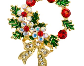 Gold-tone Swarovski Element Crystals Christmas Wreath Pin Brooch
