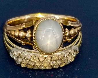 Star Sapphire in Georgian Setting 14k Gold