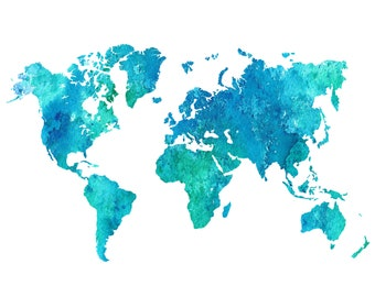 Blue world map etsy 30 off sale world map gumiabroncs Images