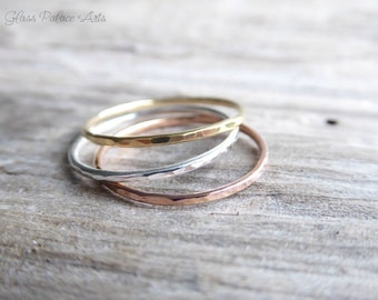 Stacking Ring Set For Women, Hammered Knuckle Rings Gold, Midi Ring Band Set, Dainty Pinky Ring Rose Gold, Gift For Wife, Girlfriend Gift