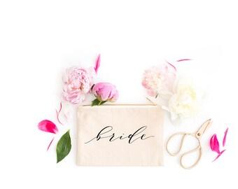 Bride Make Up Bag, Bride Cosmetic Bag, Travel Case, Bride, Makeup Bag, Gift for Her, Wedding Bride Gifts, Bridal Shower Gift,Multiple Colors