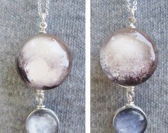 Mini Pluto and Charon Double Sided Sterling Silver necklace, Hand-Made