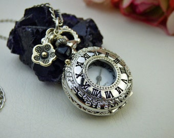 18th Century Silver and Black Watch Necklace - Victorian Era - Watch Pendant - Keepsake Jewelry