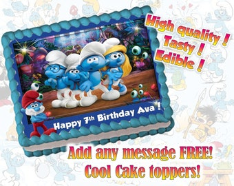 Smurfs cake, cupcake & cookie toppers, edible print. Sugar sheet decoration party supplies.
