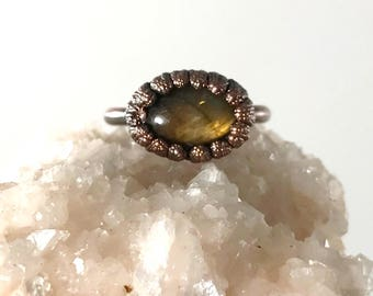 Labradorite Ring, Raw Stone Ring, Raw Crystal, Electroformed Ring, Copper Ring, Green Gemstone, Yellow, Oval, Solitaire, Antique Bronze