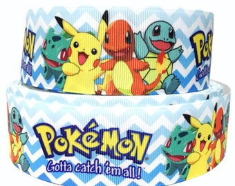 """GROSGRAIN RIBBON 1.5"""" Pokemon Pk6 Printed  By the Yard ( Buy Another One, Add to Cart,  Save on Combine Shipping)"""