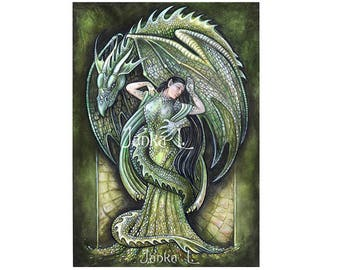 Dragon's Bride - Original painting, fantasy art green watercolour painting dragon woman elven elf