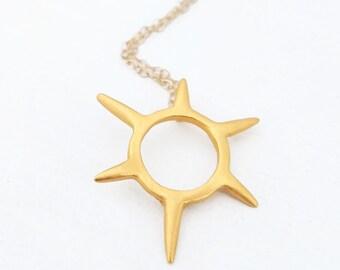 Mini Sunburst Necklace - Spike Pendant - Gold Vermeil Small Burst Necklace
