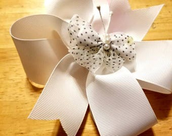 """FREE SHIPPING...Boutique Custom Made 5-6"""" White Grosgrain accented with a Black and White Dotted Bow with Center Pearl Hairbow"""