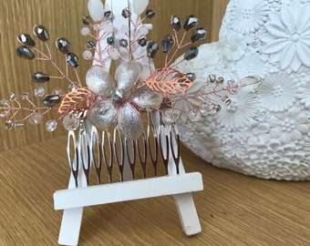 Crystal and pearl rose gold hair comb