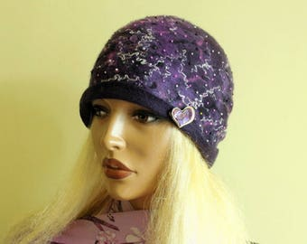 Purple violet cap Heather violet beanie   Silk wool cap Nunofelt  beanie