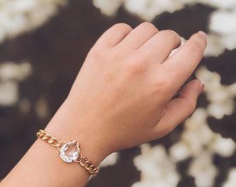 Crystal Swarovski Teardrop Chain Bracelet