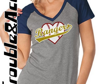 Glitter Rangers Baseball Heart Shirt, Women's Baseball Tee, Raglan V-Neck Shirt, FV Rangers Baseball Mom Shirt