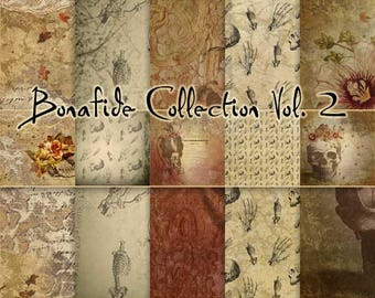 Bonafide Volume 2 - Gothic Themed Papers - Journal Papers or Scrapbook Papers - 12x12 - Skulls and Bones Printable Papers - Set of 5