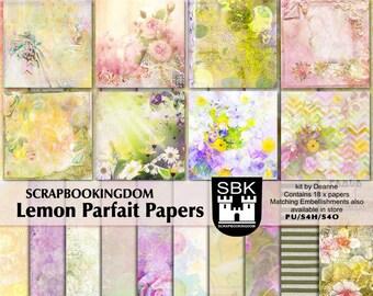 Scrapbook kit Papers - digital scrapbooking LEMON PARFAIT Beautiful flowers, 18 papers -matching scrapbook Embellishments kit also in store