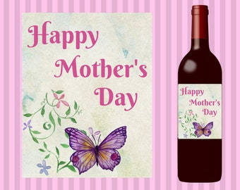 Mothers Day Gift, Mothers Day Wine Label, Printable Mothers Day Gift, Downloadable Mothers Day gift,