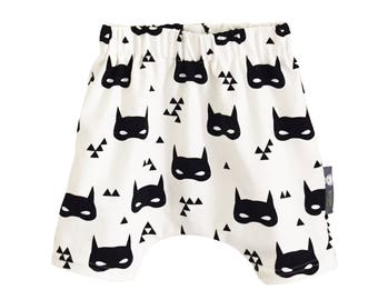 Organic Baby HAREM SHORTS Relaxed SUPERHERO Masks on Off-White Shorts - A Modern Baby Gift Idea by BellaOski