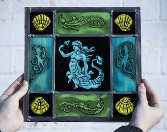Mermaid, hand-painted stained glass, leaded glass, sun-catcher, window decoration, art glass, octopus, mothers day, sea creatures
