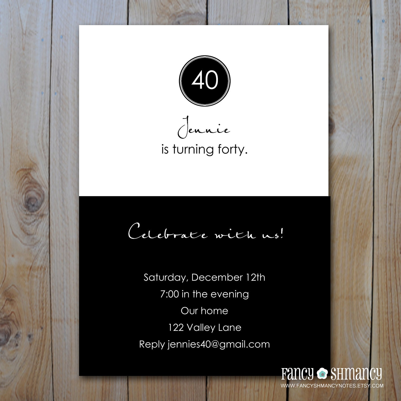 black and white birthday invitation