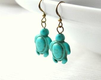 Turquoise turtle earrings Dangle handmade blue turtle earrings Gift for her