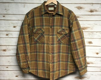 Vintage 80's St. John's Bay quilted lined flannel shirt brown green and yellow cotton flannel coat jacket Large
