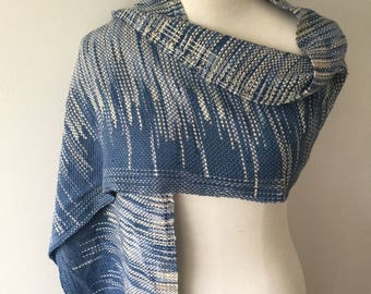 Let's be friends #2 Handwoven Scarf (blue)