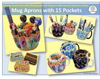 Instant Download Mug Aprons with 15 Pockets Sewing Pattern Get Started Today!
