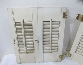 Window Shutters Louvered Vintage Wood 17.5 Inch High (1/2 window)