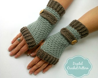 Fingerless Gloves Crochet Pattern No.916 Digital Download uses DK weight yarn English