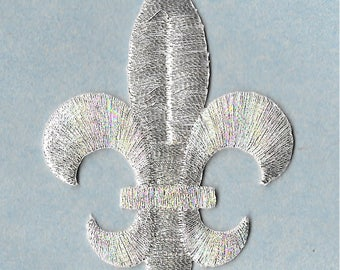 "Fleur De Lis - Silver Metallic - Embroidered Iron On Patch - 2-1/2""H"