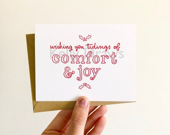 Wishing You Tidings of Comfort and Joy Christmas Card Holiday Holly Letterpress Greeting Card