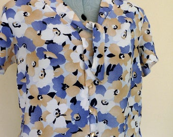Vintage Floral Print Blouse Tie Collar Summer Top UK 14 Women's shirt Medium