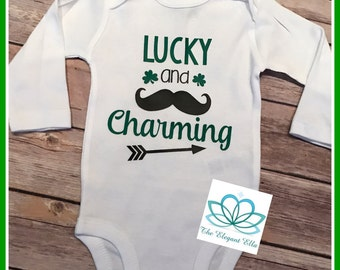 Baby boy St. Patrick's Day outfit, boy Saint patty's day shirt, st patricks day top, Lucky and charming