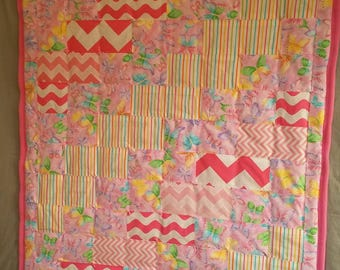 Pink Baby Blanket With Butterflies