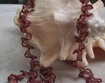 Hand Beaded Necklace  ~  Ruffled Dusty Rose and Brown Beaded Necklace  ~   Beaded Necklace  ~  Artist Original Beaded Ruffled Necklace