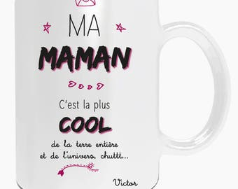 "MOM Christmas gift - Mug personalized with name or Word of your choice ""my mom it's the coolest"" - mother's day gift"