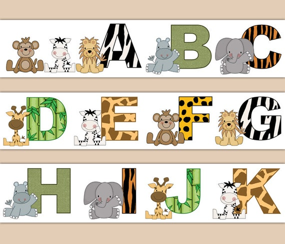 Jungle Safari Decal Animal Alphabet Wallpaper Border Wall